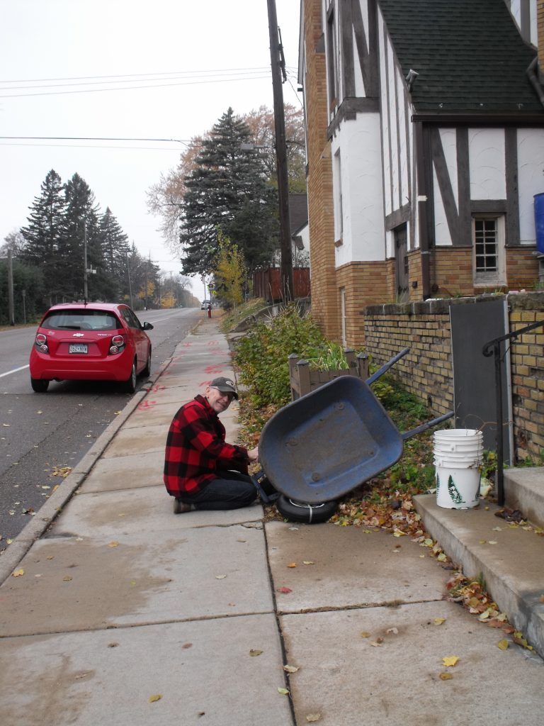 Bill replacing wheelborrow for fall cleanup